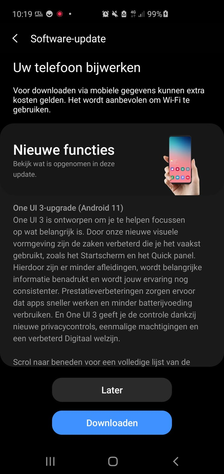 The Samsung Galaxy S10 series receives Android 11 in the Netherlands