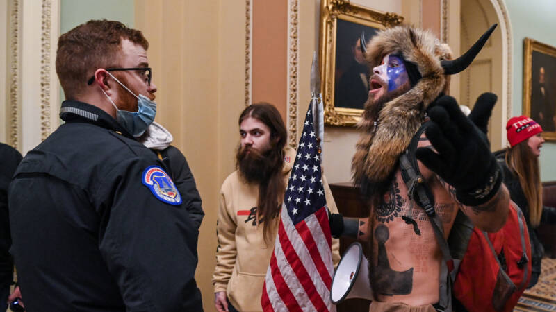 Capitol captured Stormer with bison horns and accused them