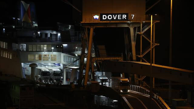 The trucks leave the first ferry to reach Dover after Brexit.