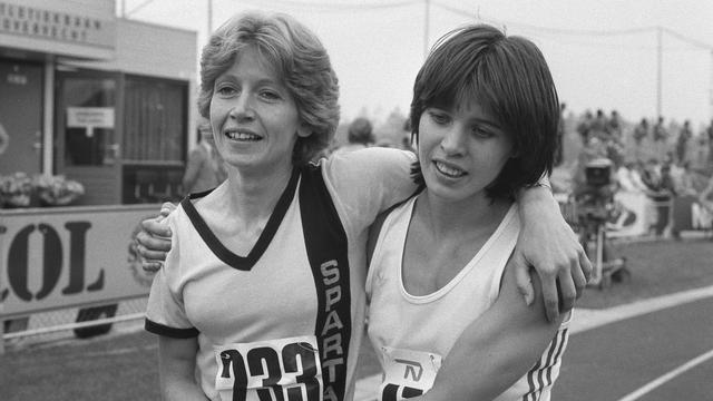 Els Feder (right) with Connie Vermazen at NK Athletics in 1981.