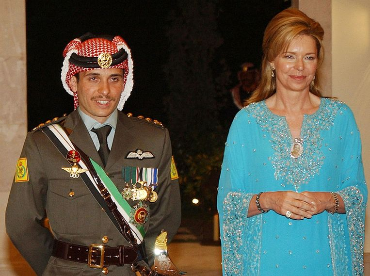 Archival photo from 2004 of Prince Hamzah with his mother, Queen Noor.  AP image