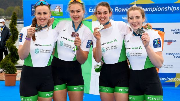 Silver medals from Ireland were won by Ivrik Kew, Emer Lambi, Fiona Mortage and Emily Hegarty after finishing second in the women's quadruple final at the European Rowing Championship in Varese, Italy, on Sunday.  Photo: Detlif Seib / info