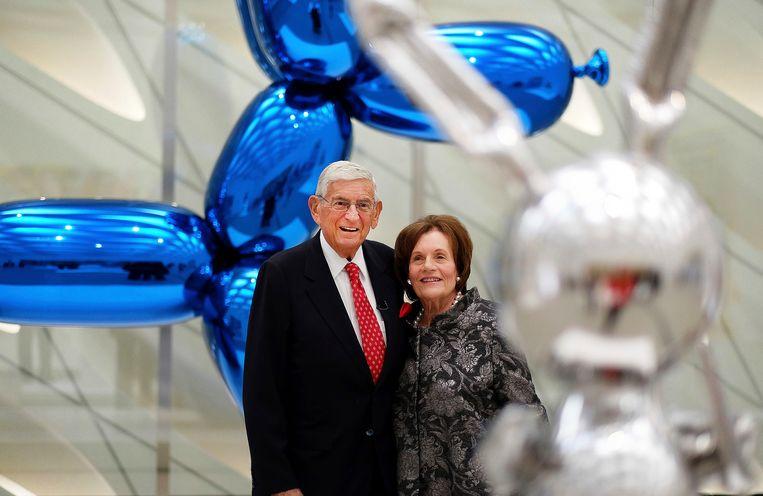Ellie and Eddie Broad in their museum in the work of Jeff Koons.  AP image