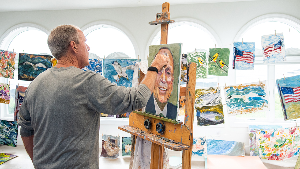 """Former President George W. Bush paints portraits of immigrants to """"change the tone"""" of the immigration debate"""