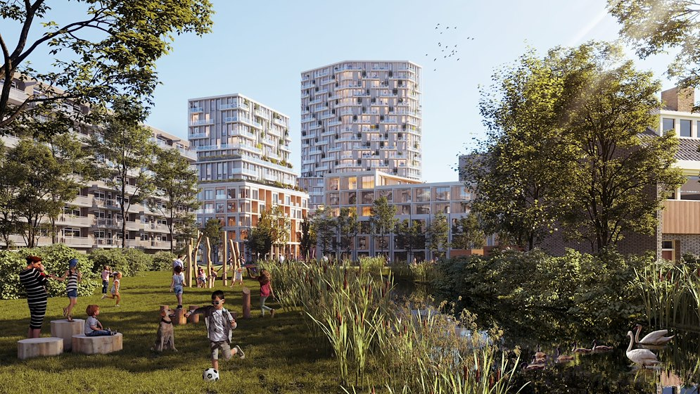 Plan with 550 houses and lots of green space vs Naturalis