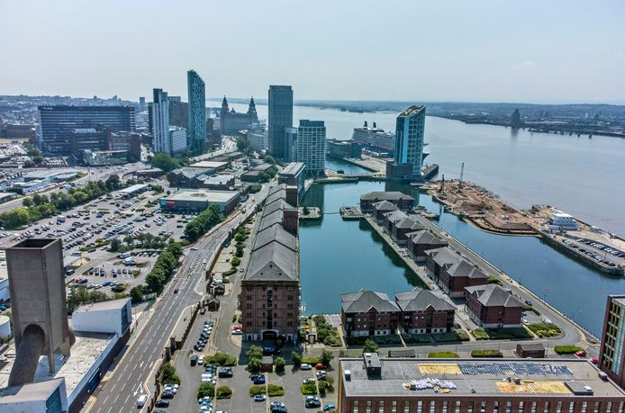 An aerial view of Liverpool's historic harbor district, now crossed off the list.