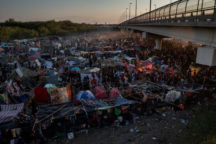 A temporary camp for migrants under the Del Rio International Bridge.