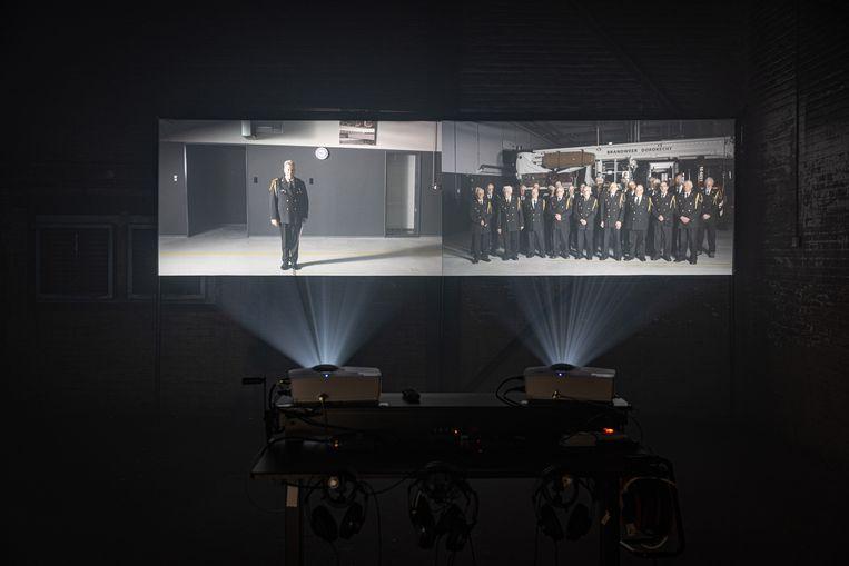 Simon Bennett's Firefighters Choir, arguably the best work of Big Art 2021. Sculpture Jan Willem Kaldenbach
