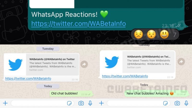 WhatsApp revamped: round text clouds and emoji reactions